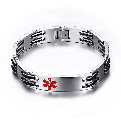Stainless Steel Silicone Classic Link Chain Medical Alert ID Bracelet for Men, Free ()