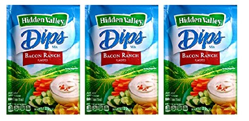 Hidden Valley Dips Mix, Bacon Ranch (Pack of 3) .9 oz Packets