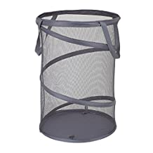 Household Essentials 2027-1 Pop-Up Collapsible Mesh Laundry Hamper - Charcoal