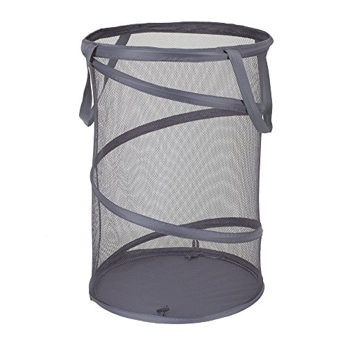 (Household Essentials 2027-1 Pop-Up Collapsible Mesh Laundry Hamper | Charcoal)