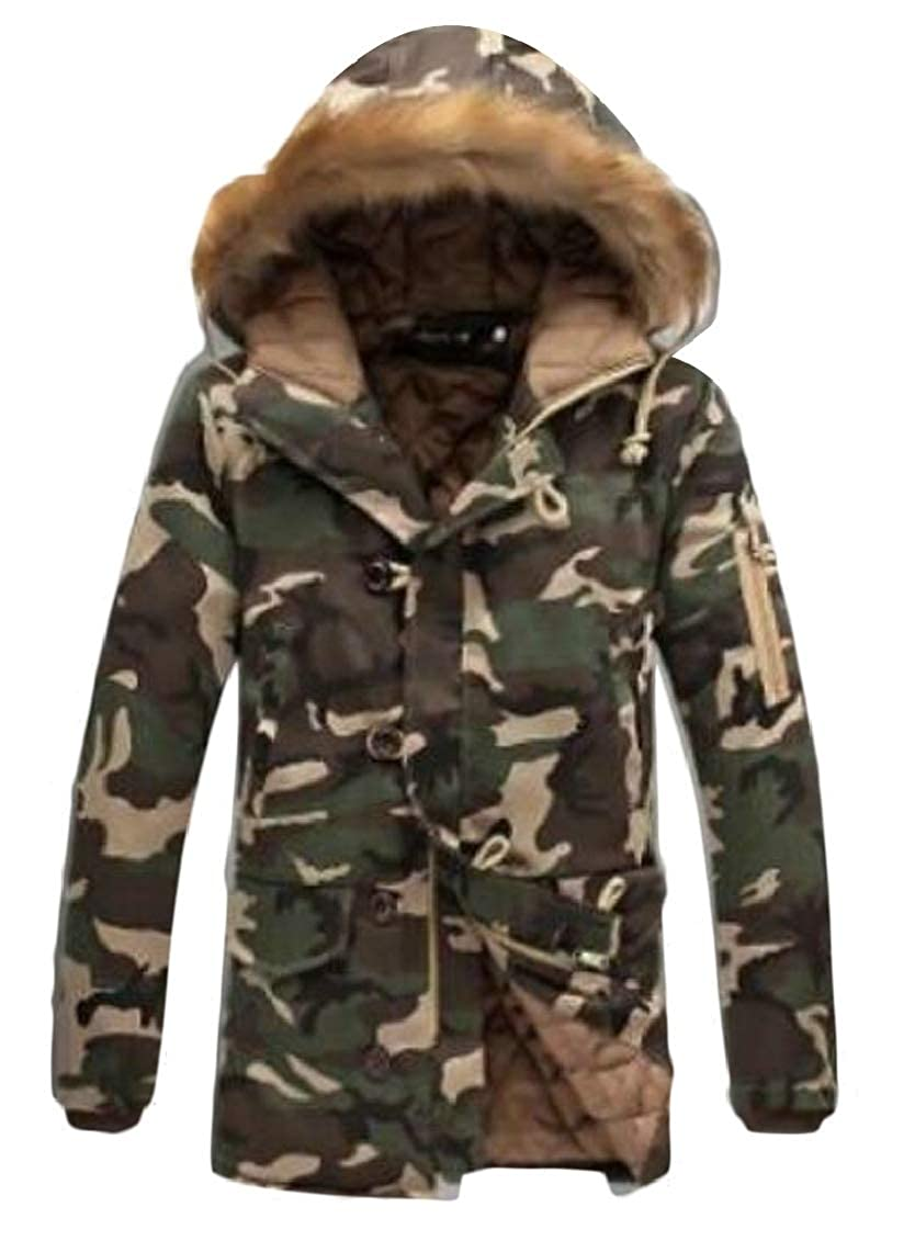 Hokny TD Mens Winter Outwear Faux Fur Hooded Camo Print Coat Jacket