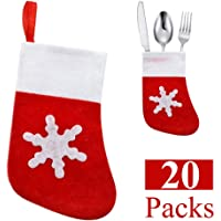Christmas Tableware Holder Mini Snowflake Dinner Table Decorations Xmas Candy Pouch Bag Socks Stockings Knife Spoon Fork Bag for Christmas Party Decoration Ornaments Supplies Gifts