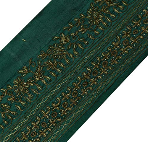 Vintage Sari Border Indian Craft Sewing Trim Hand Embroidered Ribbon Lace Green