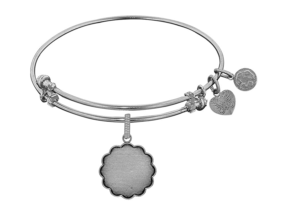 Angelica Collection White Brass Personalize Engravable Charm Bangle Bracelet