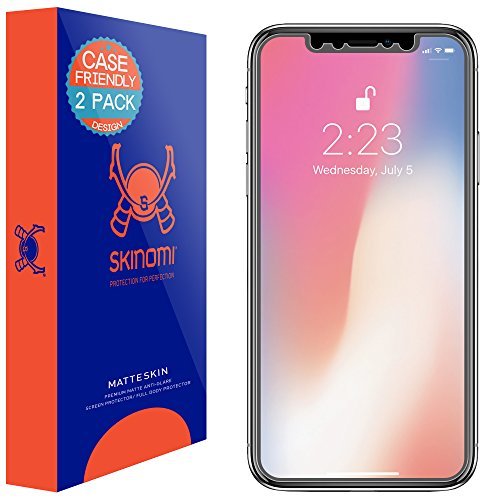 Skinomi Matte Screen Protector Compatible with Apple iPhone X (2-Pack)(Case Friendly) Anti-Glare Matte Skin TPU Anti-Bubble Film