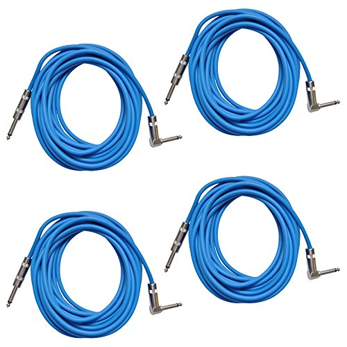 Seismic Audio SAGC20R-Blue-4Pack Blue 20-Feet Right Angle to Straight Guitar Cables, 4-Pack