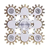 DMaos 9 Gears Fidget Spinner, Figity Toy, Smooth Metal Brass Stainless Steel with Stable Bearing, Durable Mechanics Romoveable EDC, Gold Figit Toy for Adults Kids - Silver
