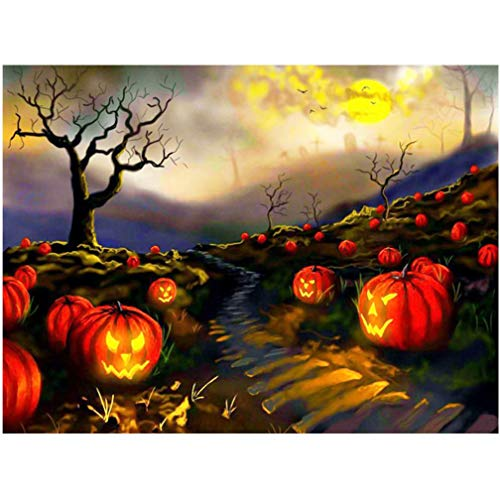 Happy Halloween - Full Drill - 5D DIY Diamond Painting by Number Kits Franterd Full Pumpkin Embroidery Rhinestone Pasted Cross Stitch Home Decor -