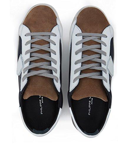 Sneakers Philippe Model Classic en piel azul y gamuza marrón Azul