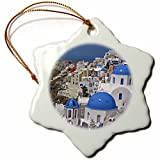 3dRose LLC orn_137346_1 Porcelain Snowflake Ornament, 3-Inch, Greece, Santorini, Oia on The Island of Santorini-David Noyes