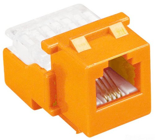 Allen Tel AT28-16 Category 3 Compact Jack Module, Orange, 1 Port, EIA/TIA 568A/B Wiring, 110 Termination, 8 Conductor (Wiring 568a/b)