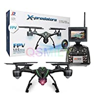 Qsmily 510G 5.8G FPV Drone with HD 2MP Camera Live Video 3D Flip 4CH 6Axis RC Quadcopter with FPV Monitor Screen on Remote , Altitude Hold & CF Mode & Headless Mode & One Key Return