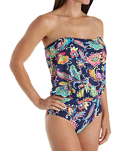 (Anne Cole Paisley Pom Bandeau Blouson One Piece Swimsuit (19MO097) 6/Multi)