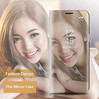 Samsung S8 Case Rose Gold Flip Mirror COTDINFORCA Mirror Design Clear View Flip Bookstyle Luxury Protecter Shell with Kickstand Case Cover for Samsung Galaxy S8 SM-G950-5.8 inch