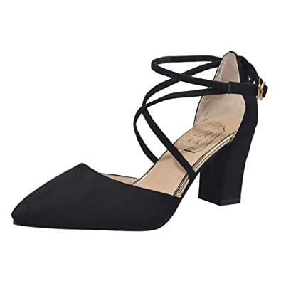 52f64039f Cross Strappy Pointed Toe Shoes,PAOLIAN Women Closed Toe Lace-up Buckle Mid  High
