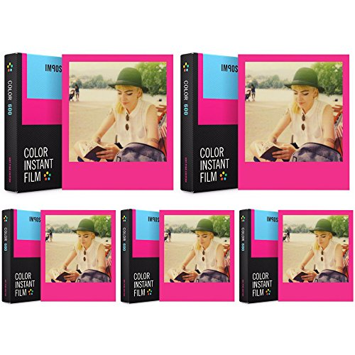 Impossible Color Film for 600 Hot Pink Edition (Hot Pink Frames) 5 PK by Impossible