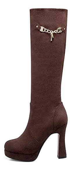 Easemax Damen Schick Mode Langschaft Overknee High Heels Stiefel Mit Absatz Braun 43 EU VOzXaL
