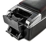 Krator Car Armrest Center Console Box Storage Black Handrest For Nissan Juke 2010-2017 - Black Leather Red Stitching - Double Storage Space, Adjustable Cup Holder, Rear Ashtray/Change Holder