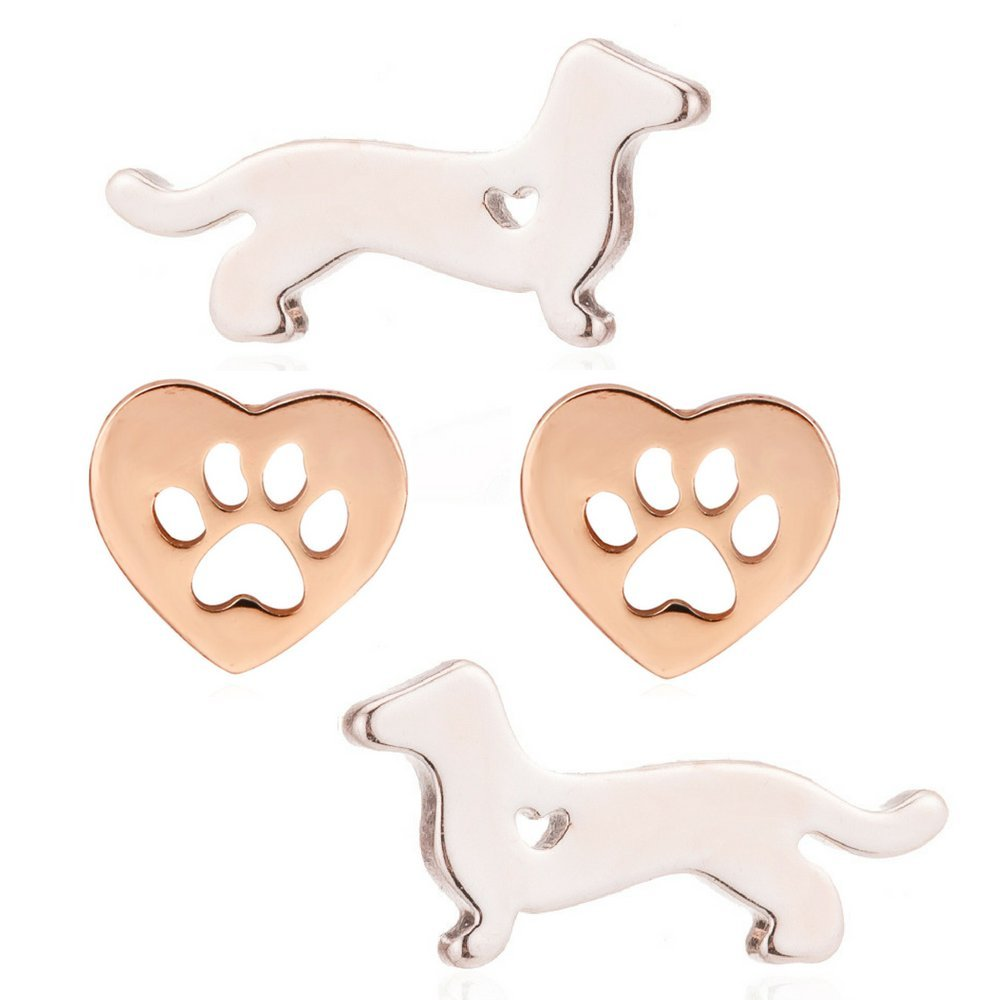 Dachshund Gifts Stud Earrings for Women Dog Gift Jewelry (Rose Gold Paw Print Bundle)