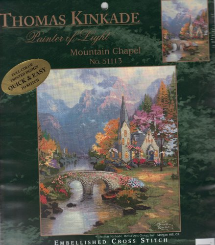 Mountain Chapel - Thomas Kinkade - Embellished Counted Cross Stitch Kit ()