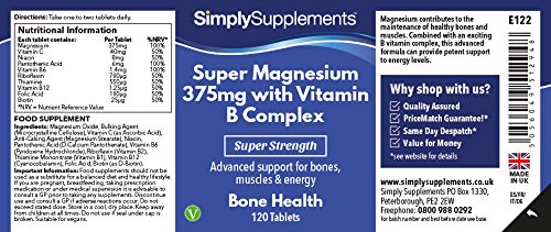 Amazon.com: Super Magnesium 375mg with Vitamin B Complex | Bone Health | 120 Tablets| 100% money back guarantee | Manufactured in the UK: Health & Personal ...