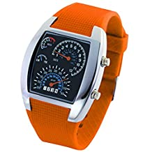 Panegy Students Unisex Waterproof Dashboard Square Face Electronic Watch Casual Watches-Orange