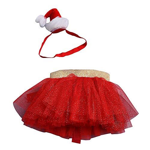 Hattfart Christmas Little Red Dress Girl Fluffy Tulle Skirt Tutu Skirt Ballet Skirt Christmas Party (M, Red) (Dress Bishop Birthday)