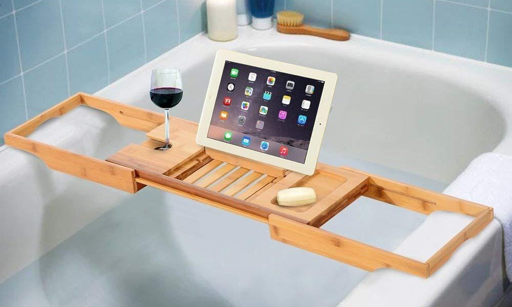 In legno di bambù di lusso vasca da bagno Tray Caddy Bridge–Vasca iPad/Book/supporto di vetro di vino SA Products