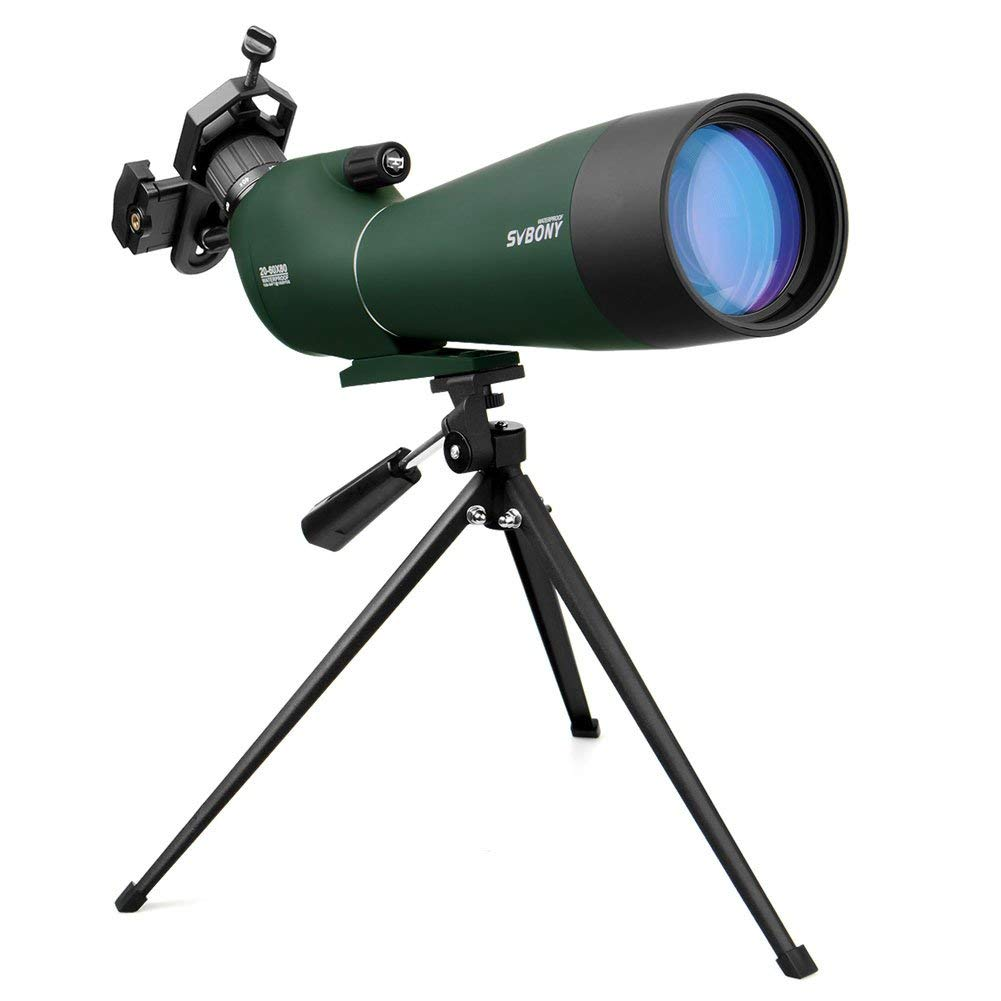 SVBONY SV28 Spotting Scope with Tripod and Phone Adapter 20-60x80mm Waterproof Scope for Bird Watching Target Shooting Archery Hunting Beginner with Soft Case