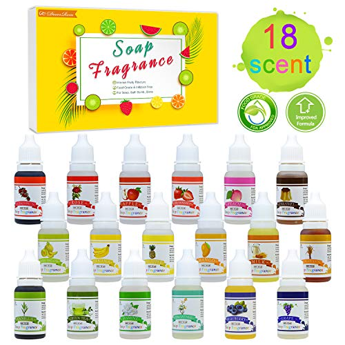 18 Soap Making Scent - Liquid Soap Fragrance Oils Set for DIY Bath Bomb, Soap Making Supplies, Slime - Concentrated Food Grade Soap Flavoring Bath Bomb Scents for Cosmetic, Crafts - 10ml/0.35oz Each