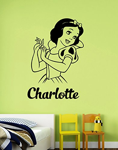 Personalized Name Snow White Wall Decal Custom Sticker Princess Art Cartoon Decorations for Home Housewares Kids Girls Room Bedroom Nursery Decor (Female Cartoon Characters Names)
