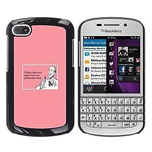 TECHCASE**Cubierta de la caja de protección la piel dura para el ** BlackBerry Q10 ** Support Wine Drink Funny Quote Pink Man