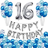 16th Birthday Decorations for Girls, Boys - Sliver HAPPY BIRTHDAY Banner and Huge Number 16 Balloon, Blue Confetti Balloons for 1 Year Old Kids, Men, Hulaso Happy Birthday Party Supplies Gifts Kit