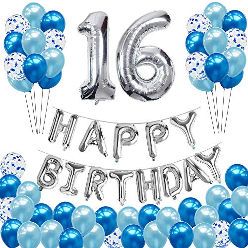 16th Birthday Decorations - Hulaso 52pcs Happy Birthday Party Supplies with HAPPY BIRTHDAY Banner for Boys Gilrs, Huge Silver Number 16 and Blue Confetti