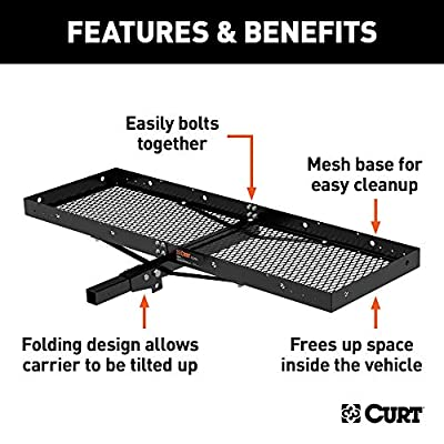 CURT 18109 Tray-Style Trailer Hitch Cargo Carrier, 500 lbs. Capacity, 60-Inch x 19-1/4-Inch, Fits 2-Inch Receiver: Automotive