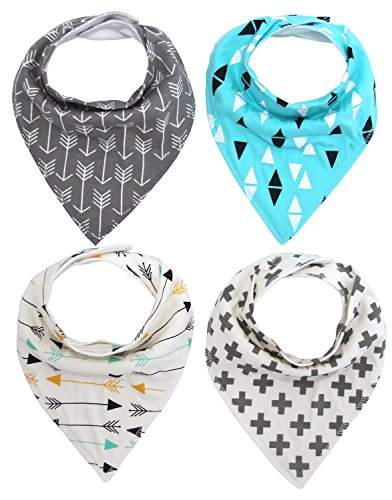 MKONY Baby Bandana Drool Bibs with 2 Snaps,Arrows & Triangles Set,4-Pack Soft Absorbent Cotton, Cute Baby Gift for Boys & Girls