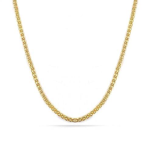 Amazon.com: 18 K Chapado en oro collar de cadena de malla de ...