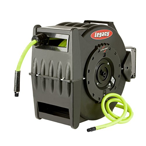 Flexzilla Levelwind Retractable Air Hose Reel, 3/8 in. x 50 ft., Heavy Duty, Lightweight, Hybrid, ZillaGreen - L8305FZ by Legacy Manufacturing (Image #2)