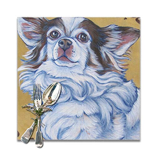 (Scarlett Life Hall White Long Hair Chihuahua Art PaintingDecorative Polyester Placemats Set of 6 Printed Square Plate Cushion Kitchen Table Heat-Resistant Washable Dining Room Family Children)