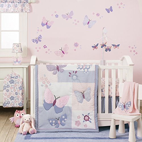 Baby Nursery Girl - Bedtime Originals Butterfly Meadow Bedding Set, 3 Piece