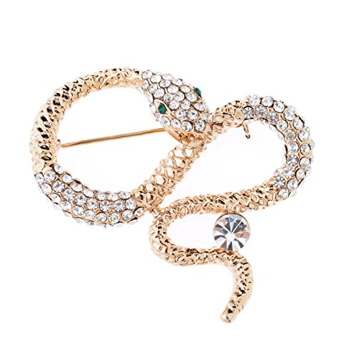 Tagoo Snake Brooches Pins Scarf Clips Crystal for Dailywear&Wedding (Snake Design (Elrond Crown)