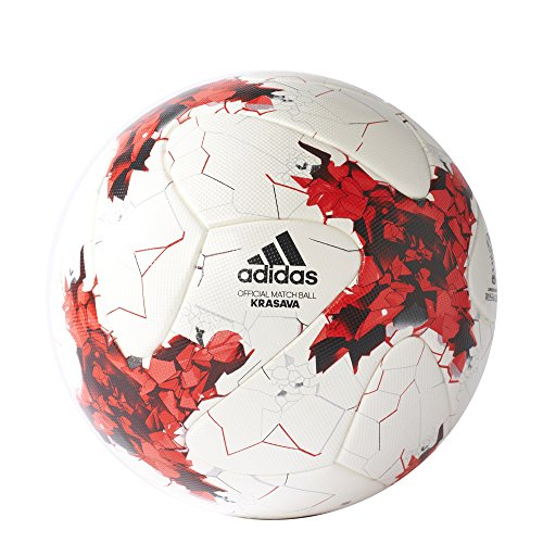 (adidas Performance Confederations Cup Official Match Soccer Ball, White/Red/Power Red/Clear Grey, Size 5)