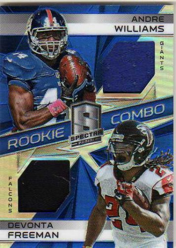 2014 Panini Spectra Rookie Combo Jerseys Prizms Blue  24 Andre Williams Devonta Freeman Game Worn Jersey Card Serial  D 49