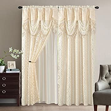 Amazon Com Elegant Home Window Curtain Drapes All In One Set With
