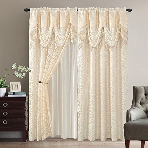 Elegant Home Window Curtain Drapes All-in-One Set with Valance & Sheer Backing & Tassels for Living Room, Bedroom, Dining Room, and Sliding Doors - Sandra (Beige)