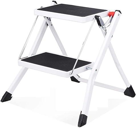 Taburete de escalera ZCJB Escaleras De Metal para Taburetes, Mini Escalera Plegable Ligera Blanca con Pedal Ancho Antideslizante, 330 LB Taburete: Amazon.es: Hogar
