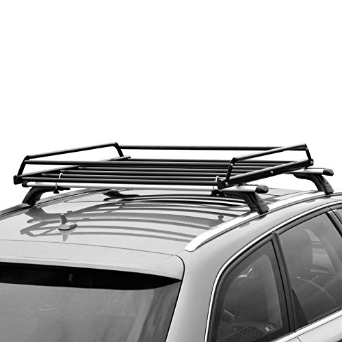 (CyclingDeal Basic Car Roof Tray Platform Rack Carry Box Luggage Carrier Basket + Cargo Net Cover)
