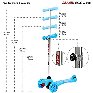 3 Wheel Scooter, Allek Lean To Steer Deluxe 3 Flashing Up Wheel Adjustable Height Birthday Gift for Boys Girls from 3 to 8 Year-Old