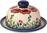 Polish Pottery UNIKAT Butter dish with Lid or Cheese Dish by Eva's Collection Poppy Field