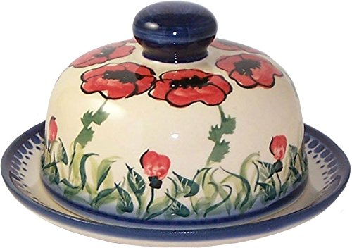 Boleslawiec Stoneware Polish Pottery UNIKAT Butter or Cheese Dish Eva's Collection Poppy Field Home of Polish Pottery C113PFi